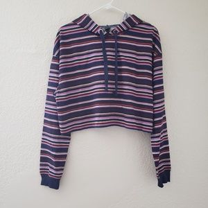 Wild Fable Striped Navy Purple Cropped Boxy Hoodie